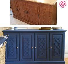 O'verlays Gigi applique on a yard sale find painted navy blue.  Great DIY furniture makeover