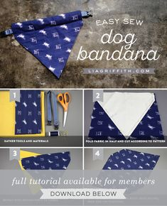 Make an Easy DIY Dog Bandana - Give your four-legged friends some style by making your own DIY dog bandana. This simple project wi - Diy Tumblr, Puppy Bandana, Bandana For Dogs, Diy Dog Collar, Pet Collars, Diy Dog Toys, Homemade Dog Toys, Pet Toys, Dog Crafts