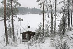 Sauna by the lake, Finland