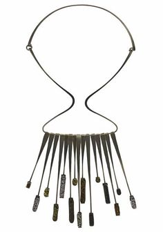 Elsa Freund, Fringe Necklace, 1950s, silver, glazed earthenware, fused glass, 285.8 x 139.7 mm, photo: Lynnette Mager-Wynn
