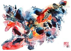 Doodlewash and watercolor sketch by Coco Bee (Queenie Wong) of abstract dance