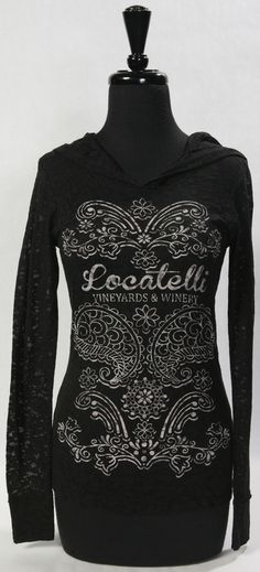 Ladies Burnout Long-sleeve Hoodie with our newest design. S,M,L,XL comes in Black and Indigo. $35.00