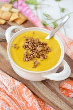 Ginger Apple Butternut Squash soup- a MUST make this Fall! Velvety, creamy vegan and gluten-free soup.