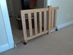Diy dog gate from futon frame and garage spare materials. : woodworking - Diy dog gate from futon frame and garage spare materials. Diy Dog Gate, Diy Gate, Diy Baby Gate, Wood Baby Gate, Barn Door Baby Gate, Futon Frame, Dog Rooms, Home Projects, Diy Furniture