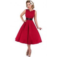 Robe Pin-Up Rétro 50's Rockabilly Hepburn Rouge