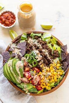 Throw together this healthy elk taco salad when you want to use up some ground elk or venison meat. The paleo, taco seasoning makes wild game taste amazing. Elk Meat Recipes, Healthy Meat Recipes, Healthy Tacos, Mexican Food Recipes, Salad Recipes, Game Recipes, Deer Recipes, Sausage Recipes, Veggie Recipes
