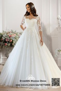 Romantic Wedding Dress Half Sleeve White Puffy Ball Gown Bridal Dresses Tulle 2015 Illusion Neckline Lace Belt Vestido de Novia W4037