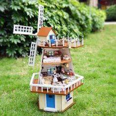 84.99$  Buy here - http://ali3a1.worldwells.pw/go.php?t=32333446090 - Assembling Miniature Wooden DIY Doll Model House Kit Villa Toy With Furnitures For Birthday Gift Windmill House 1set/lot 84.99$