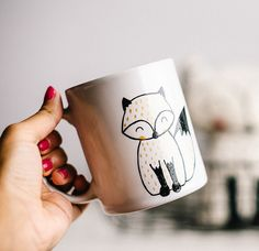 Foxy Gold Handpainted Mug. Cute mug cup. Unique mug. Fox mug cup. Coffee/tea ceramic mug