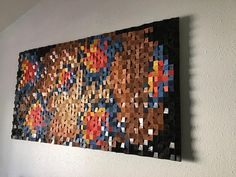 This original art piece is made from reclaimed, recycled or discounted wood. I cut, sanded, stained and painted hundreds of individual blocks to form this piece. I used espresso, cherry, maple and natural for stain and for paint I used the official colors for the Oklahoma City