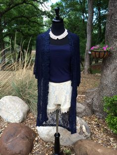 Dressed Up Shorts   Creme lace shorts with navy lace jacket   Cheerful Heart Gifts - Granbury, TX