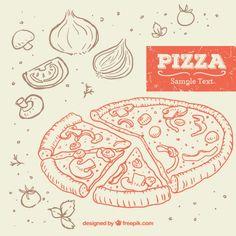 Hand drawn pizza Free Vector Pizza Vector, Pizza Company, Pizza Party, Summer Parties, Summer Fun, Pizzas, Design Process, Party Invitations, Invites
