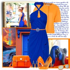 """""""BRIGHT ORANGE AND BLUE"""" by bodangela ❤ liked on Polyvore"""