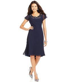 SL Fashions Petite Dress, Cap-Sleeve Sequin Cutout - Petite Dresses - Women - Macys