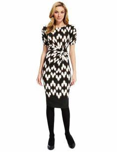 M/&s Collection Noir Multi près du corps à motifs Col V Soirée Wrap Midi Robe £ 49