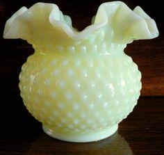 vintage Fenton art glass - Lime SATIN HobNail RUFFLED VASE Milk Glass ...