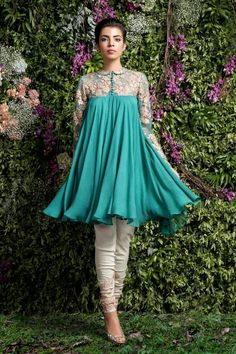 """Indian Fashion - """"Enchanted Forest"""" by Shyamal and Bhumika. Pakistani Dresses Casual, Indian Gowns Dresses, Indian Fashion Dresses, Dress Indian Style, Pakistani Dress Design, Indian Outfits, Western Style Dresses, Stylish Dresses, Casual Dresses"""