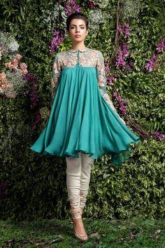 "Indian Fashion - ""Enchanted Forest"" by Shyamal and Bhumika. Pakistani Fashion Casual, Pakistani Dresses Casual, Pakistani Dress Design, Indian Fashion, Dress Indian Style, Indian Dresses, Indian Outfits, Western Style Dresses, Frock Fashion"