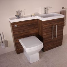 This Tabor Walnut Right Hand Vanity Unit is an excellent edition to any bathroom it combines as a WC Basin and Storage and can therefore be used as a space saver option in all manner of bathroom styles and sizes. Bathroom Suite, Bathroom Style, Bathroom Furniture, Bathroom Suites, Small Bathroom, Toilet And Sink Unit, Bathroom Furniture Vanity, Sink, Toilets And Sinks