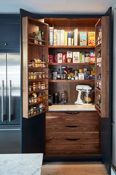 This pantry is all my favorite things combined Wa - kitchen pantry Kitchen Cabinets For Less, Kitchen Pantry Design, Luxury Kitchen Design, Kitchen Larder, Home Decor Kitchen, Rustic Kitchen, Interior Design Kitchen, Home Kitchens, Pantry Interior