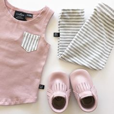 "89 Likes, 4 Comments - VONBON™ (@vonbonapparel) on Instagram: ""Pretty in Pink! Our Blush Tank Top pairs perfectly with our Gray Stripe Leggings and Piglet…"" Little Girl Outfits, Baby Boy Outfits, Kids Outfits, Kid Closet, My Baby Girl, Baby Love, Cute Baby Clothes, Baby Girl Fashion, Kids Fashion"