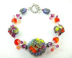 Lampwork Bracelet Colorful Floral Bracelet by GlassRiverJewelry