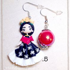 Orecchini-Frida-Kahlo-Cute-Earrings-Fimo-Polymer-Clay-Kawaii-Chibi-Mexican