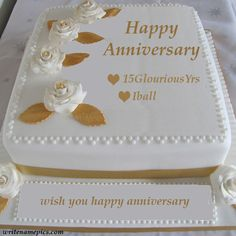 Happy Anniversary Cake With Couple Name Editor Sister Pinterest