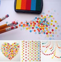 Using pencil erasers to create speckled art.