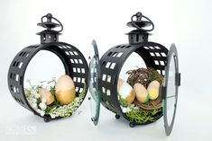 DIY Easter lantern display, and color block eggs. This shows you how to make it step-by-step!