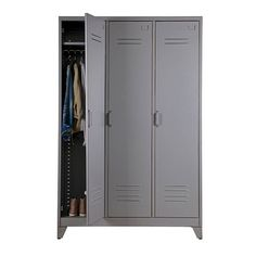This industrial style wardrobe would be suitable for any bedroom or lobby. It has a rail on the left side and 3 shelves in the middle section and right side, providing plenty of storage for your clothes. Complementing items in this ra Industrial Lockers, Metal Lockers, Industrial Style, Tall Cabinet Storage, Locker Storage, Door Locker, Childrens Wardrobes, Sliding Wardrobe, Vintage Wardrobe