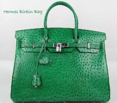 Hermes 'Birkin' green ostrich bag.  Usually don't like Hermes, but this is a beautiful bag.  Check out Aspinal of London if lusting after Hermes.  Well made and great styles.  Saves you loads.