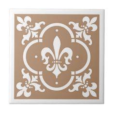 Fancy Fleur De Lis Tan Tile - fancy gifts cool gift ideas unique special diy customize