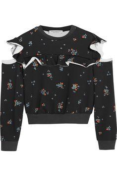 Philosophy di Lorenzo Serafini | Ruffled floral-print cotton-jersey sweatshirt | NET-A-PORTER.COM