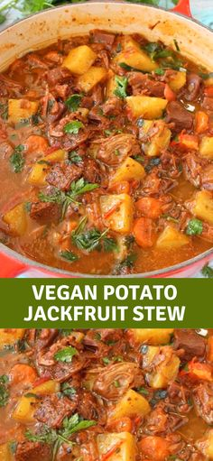 A hearty, delicious and healthy vegan potato stew with meaty jackfruit, carrot, smoky spices and tomatoes that will make you go back for seconds and lick your bowls clean. Best served with garlic bruschetta to mop up all that tasty plant-based gravy. Vegan Dinner Recipes, Soup Recipes, Whole Food Recipes, Healthy Recipes, Cooking Recipes, Dinner Healthy, Beef Recipes, Chicken Recipes, Healthy Dinners