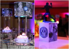 Giants Football Theme Bar Mitzvah Centerpieces {Chad David Kraus Photography} - mazelmoments.com
