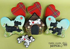 Scottie dog cookies~                   By Jill FCS on Facebook, black, red plaid hearts, white bones, dog house