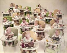 """Infants with adult foods, 1954. Photo for Look magazine assignment """"No one eats better than Baby."""" http://www.shorpy.com/node/21367 Arthur Rothstein"""