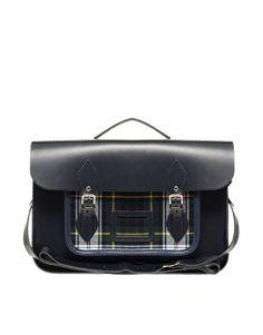 "Enlarge The Cambridge Satchel Company 15"" Leather Satchel With Tartan Pocket"