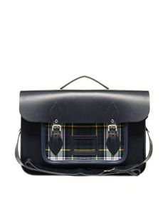 "Enlarge The Cambridge Satchel Company 15"" Leather Satchel With Tartan Pocket"