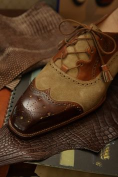 Tweed and leather shoes