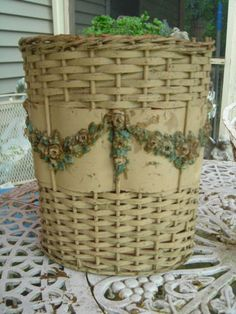 Vintage Wicker Basket Swags Barbola Pink Roses Chippy Paint Chic 1920s