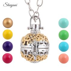 10pcs/lot Fashion Hollow Openable Cage Locket Necklace Baby Ball Chime Musical Bells Angel Pendants Necklace For Women  Pregnant