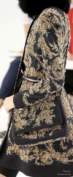CHANEL~ Gold and black tapestry fabric embroidered with thousands of tiny pearls ~ Chanel Haute Couture | F/W 2014-15