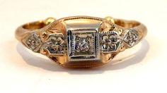 14kt Art Deco Old European Cut Diamond by My3LadiesJewelry on Etsy, $225.00