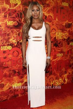 Laverne Cox White Cut Out Evening Dress HBO's Official 2015 Emmy After Party
