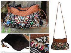 Mandarin Style Embroidered Leather Accent Shoulder Bag - Mandarin Garden Bees | NOVICA