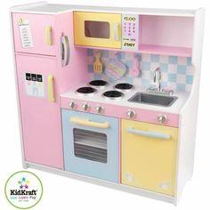 Cuisine en bois pour enfant pastel en bois 107x41x109cm - Cette grande cuisine enfant très complète intègre : * Four et micro-ondes avec porte vitrée