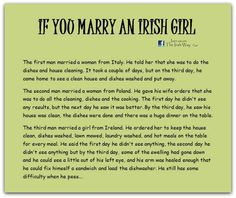 If you marry an Irish girl.May god protect you Irish girls Irish Jokes, Irish Proverbs, Irish Eyes Are Smiling, Irish Pride, Irish Girls, Irish Celtic, Irish Men, Irish Blessing, Thinking Day