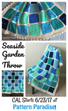 The Seaside Garden Throw Blanket CAL pattern on pattern-paradise.com #crochet #patternparadisecrochet #blanket #throw #CAL